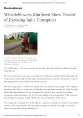 Whistleblowers Murdered Show Hazard of Exposing India Corruption