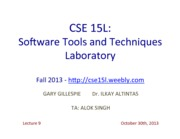 CSE15LLecture930thOct2013