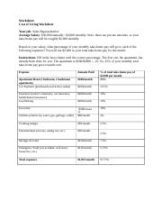 4.01 Your Money Now.doc - Worksheet: Cost of Living Worksheet Your ...