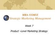 Lecture 7 Product level Marketing Strategy for Strategic Marketing Management