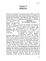 Chapter 8 - Fallacies