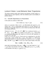 Lecture 9 Notes Local Behavior Near Trajectories
