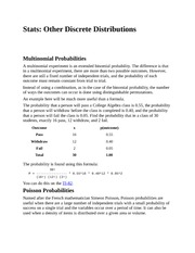 Stats - Other Discrete Distributions
