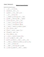Balancing Chemical Equations Pdf Chapter 7 Worksheet 1 Balancing Chemical Equations Balance The Equations Below 2 Nh3 1 N2 H2 2 2 Kclo3 3 2 Nacl F2 4 Course Hero