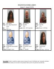 Crime Report 1-4-16 through 1-10-16