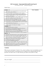 Speech self-assessment form
