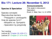 Biology 171 Lecture 26