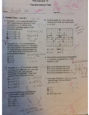 Pre-Calculus 12 Transformations Test