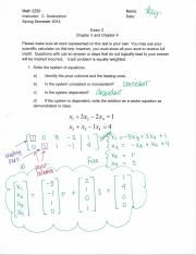 MATH 2250 EXAM 2 KEY