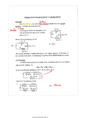 PHYS 12 Voltage, Resistance and Series Circuits Notes