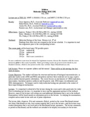Bisc 320 lecture syllabus 2008