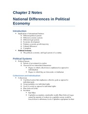 Chapter 2 Notes - National Differences in Political  Economy