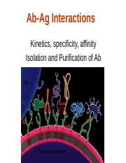 Lectures 10-12 (Ab-Ag Interactions, Ab isolation, purification)-2011