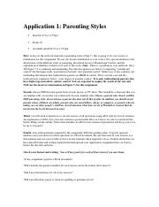 Application 1-parenting styles