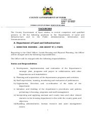 VACANCIES IN THE COUNTY PUBLIC SERVICE JULY 2016