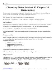 Chemistry Notes for class 12 Chapter 14 Biomolecules.pdf