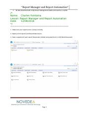 Report Manager and Report Automation Lab