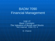BADM 7090 IC 2013 - Basic Concepts (The Valuation of Stocks and Bonds)-1