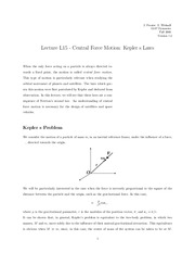 Central Force Motion notes