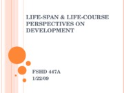 Life-Span & Life-Course Perspectives
