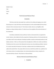 Environmental preference theory assign