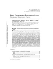 Green chemistry and engineering drivers, metrics, and reduction to practice annurev%2Eenergy%2E28%2E