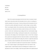 Co-Teaching Reflection Paper