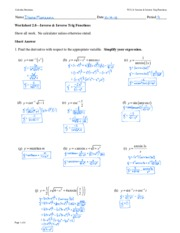 Ws 02 8 Inverse Trig Functions Key Dm Calculus Maximus 2 Name Date Period Worksheet 8inverse