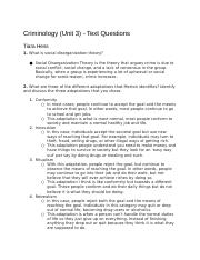 CriminologyUnit3-TextQuestions