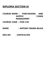 PURCHASING AND SUPPLY CHAIN MGT