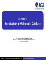 Lecture 1(Intro to Multimedia Database)