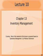 Lecture 10_CH13 Inventory Management