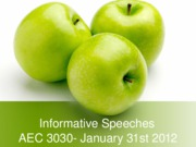 Jan31stLecture - Informative Speeches.ppt