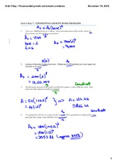 Exponential growth worksheet problems