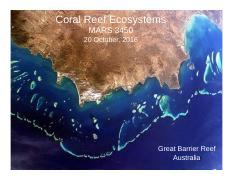 Lecture 19 20 Oct Coral Reefs