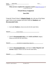 Virtual Library Assignment