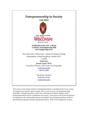 ID 501 Syllabus - Fall 2011 Entrepreneurship in Society Syllabus