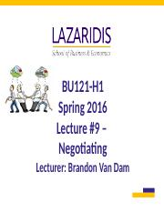 BU121 Spring 2016 - Lecture #9 - Negotiating - Student's Copy