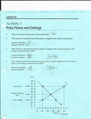 Lesson 6-Activity 1 Price Floors and Ceilings
