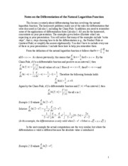 Notes on the Differentiation of the Natural Logarithm Function