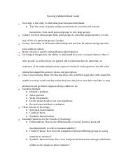Sociology Midterm Study Guide