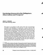 Psychology research in the Philippines