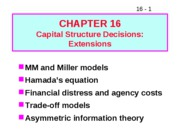 16 Capital Structure Decisions Extensions