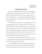 Things fall apart essays dissertation and depression