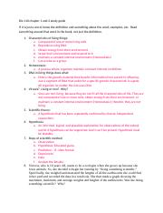 Bio 110 chapter 1 and 2 study guide.docx