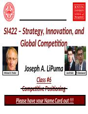 Lecture 6 - Competitive Positioning