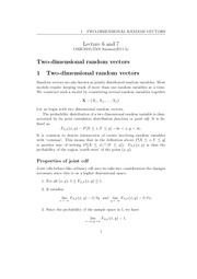 Lecture 6,7 - Two Dimensional Random Vectors