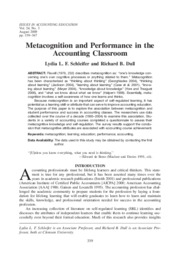 Metacognition and Performance in the Accounting Classroom