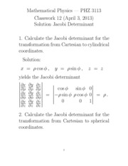 Homework 1 Solution on Jacobian Determinant