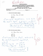 MATH 1019 Quiz 9 Winter 2015
